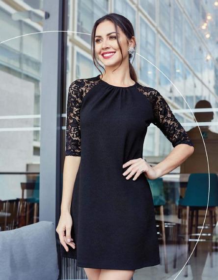 Vestido Negro Corto De Encaje Manga 3/4 Formal Fiestas 01283