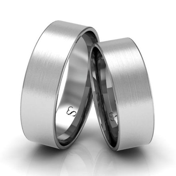 Alianças Casamento Ouro Branco Foscas 6mm 8g