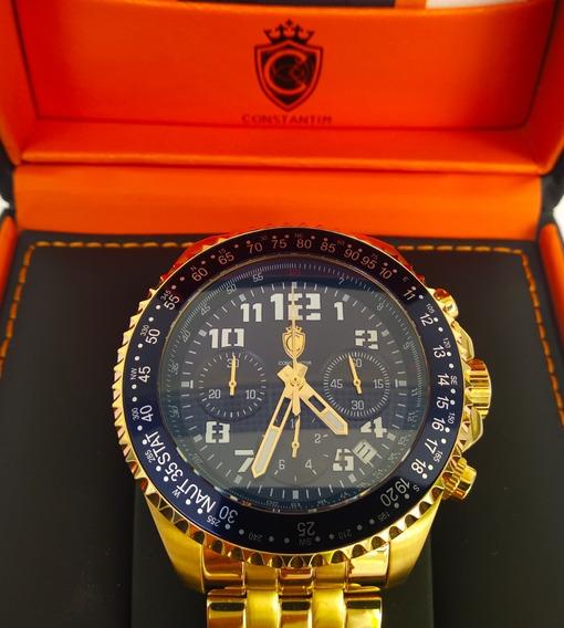Relogio Maravilhoso Constantim Gold Blue Chronograpf 49mm