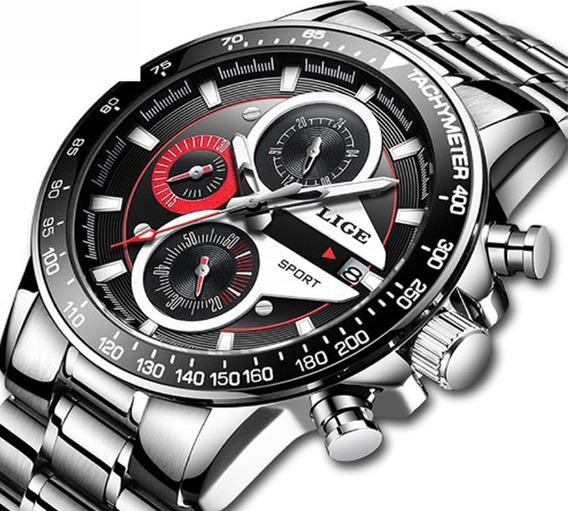 Relógio Masculino Lige 9835 Prata Esporte De Luxo Original
