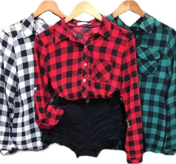 Camisa Blusa Xadrez Feminina Manga Longa Modinha