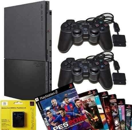 Playstation 2 Slim 2 Controles E 5 Jogos Desbl