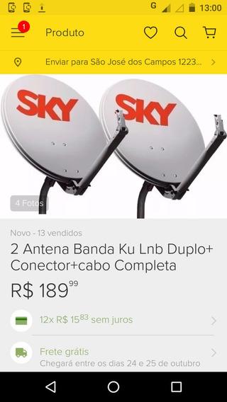 2 Antena Banda Ku Lnb Duplo Completa Por Apenas 224.99