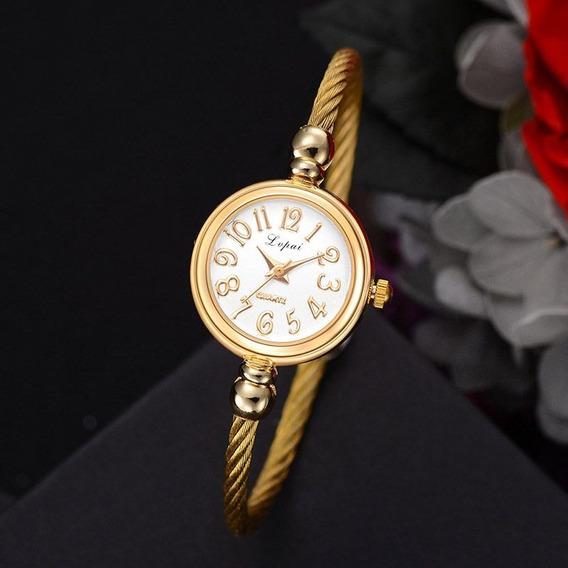 Relógio Bracelete Clássico De Aço Inoxidável Torcido