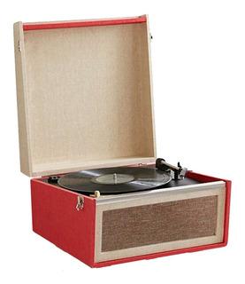 Tocadiscos Parlante Portatil Pie Caja Vinilos Vintage Musica