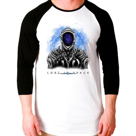 Camiseta Lost In Space Série Netflix Raglan 3/4 Unissex
