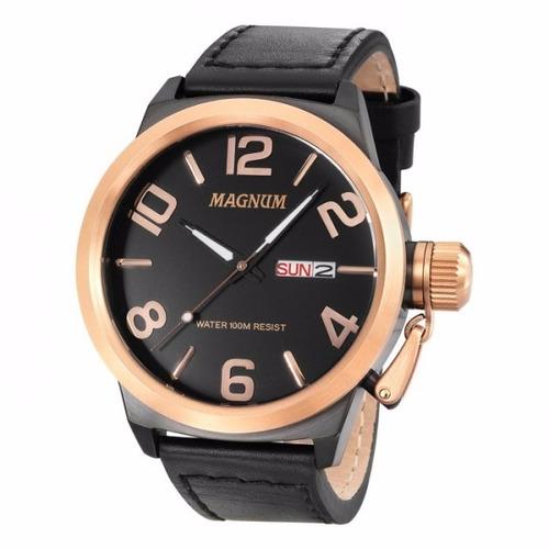 Relógio Magnum Masculino Ma33399u Preto Couro Rose