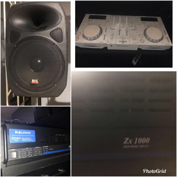 2 Caixas De Som, Amplificador E Mixer
