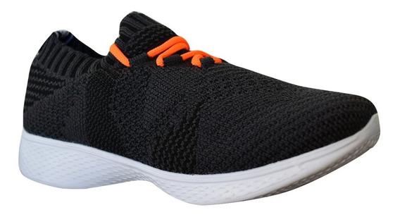 Zapato Tenis Casual Tejido Niño Infantil Negro Moderno Kappa