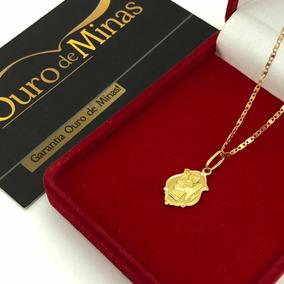 Cordão Piastrine Com Pingente De Anjo Ouro 18k 750