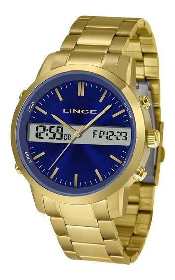 Relógio Masculino Lince Dourado Analógico|digital Mag4489s
