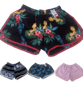 Kit Com 05 Shorts Estampado Feminino Adulto Extra Plus-size