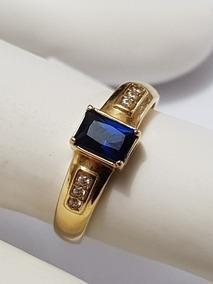 Anel Feminino De Formatura Pedra Azul Quadrada Ouro 18k Adm