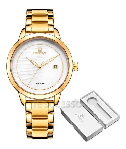 Relógio Feminino Dourado A Prova D`agua Casual