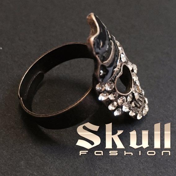 Anel Caveira Com Chapeu Anel Rock Skull Fashion Moda Rock