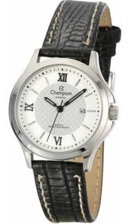 Relógio Champion Aço Pequeno Pulseira Couro Ca29779q Branco