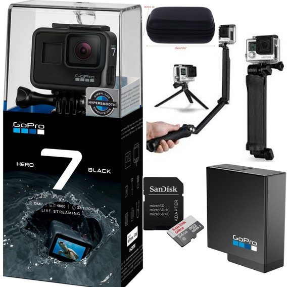 Câmera Gopro Hero 7 Black+bat+3way+cartão Class10 64gb+case