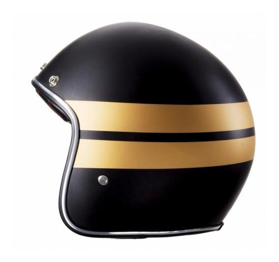 Capacete Lucca Custom Matt Black Gold Acompanha2 Viseiras