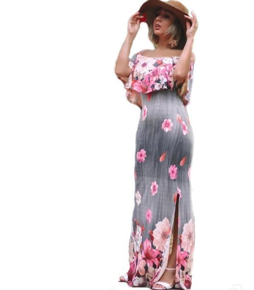 Vestido Longo Ciganinha Estampado Com Fenda
