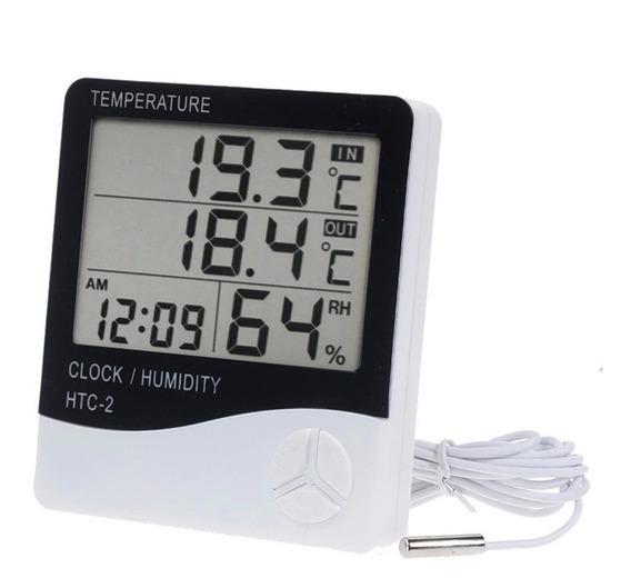 Higrometro Termometro Medidor Humedad Reloj Alarma Exterior