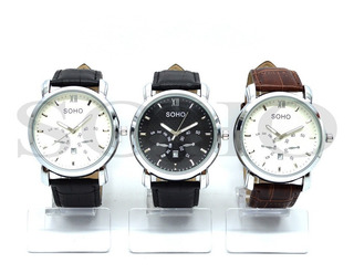 Reloj Analogo Caballero Soho Modelo Ch045 Resistente Al Agua