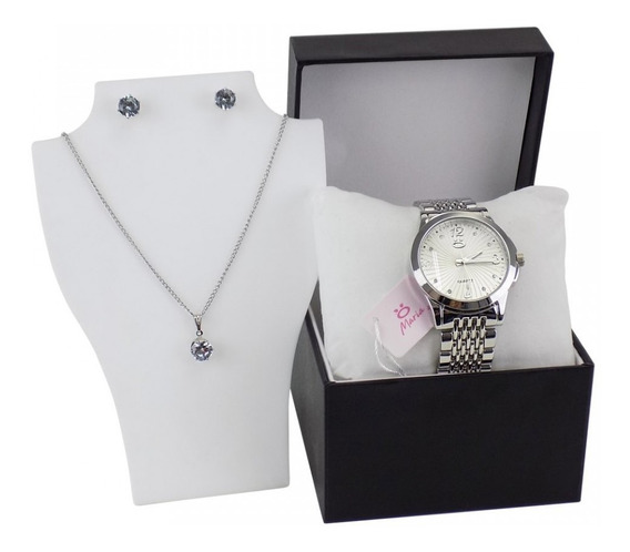 Relógio Feminino Aço Maria Analógico + Colar Rma44