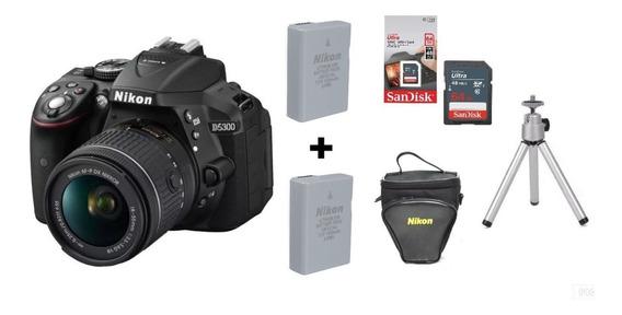 Câmera Nikon D5300 C/18-55mm+2 Baterias+ 64gb +bolsa +tripé