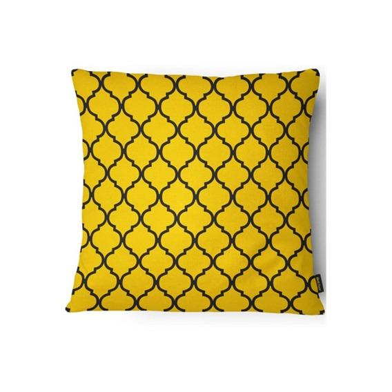 Capa Para Almofada 43x43cm Amarela E Preta