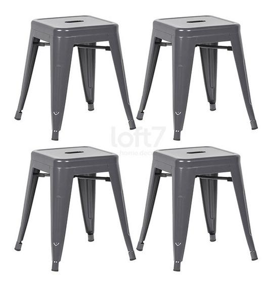 4 Bancos Baixo Tolix Iron 45 Cm Iron Cozinha Cinza Escuro