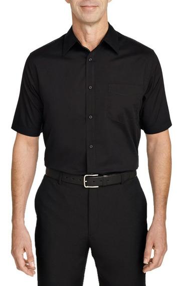 Camisa Social Masculina Manga Curta Preta Garçom Segurança