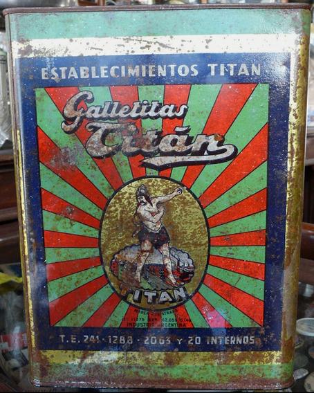 Antigua Lata Galletitas Titán (con Tapa). 71172