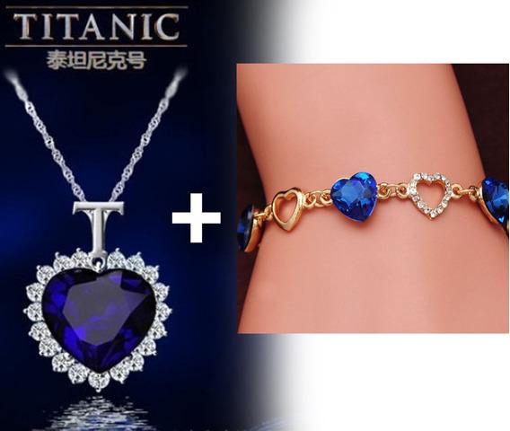 Kit Colar Titanic Coração Do Oceano + Pulseira C/ Corações