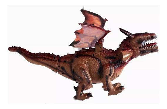 Brinquedo Dragao 45cm Bate Asas,anda,sons,led,luz Dinossauro