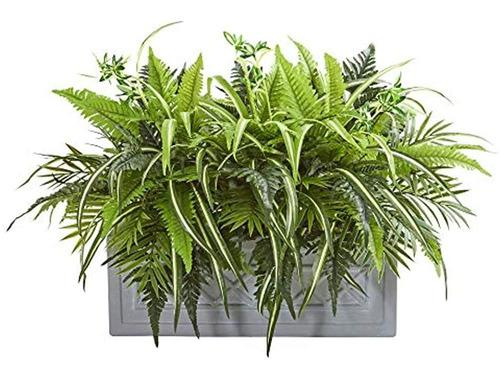 Imagen 1 de 1 de Verduras Y Helechos Mixtos Casi Naturales Artificiales En Ma