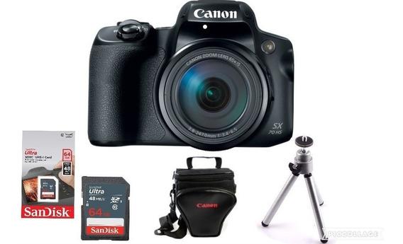 Câmera Canon Powershot Sx70 + Bolsa + 64gb + Tripé