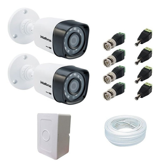 2-câmeras Vhd 1120 G4 Intelbras Cabo Coaxial E Conectores