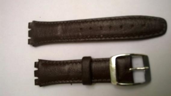 Pulseira Swatch Couro *irony* Azul / Marrom 17 E 19mm