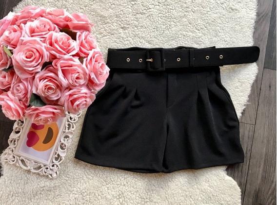 Shorts Feminino Cintura Alta Com Cinto Fivela Quadrada Retro
