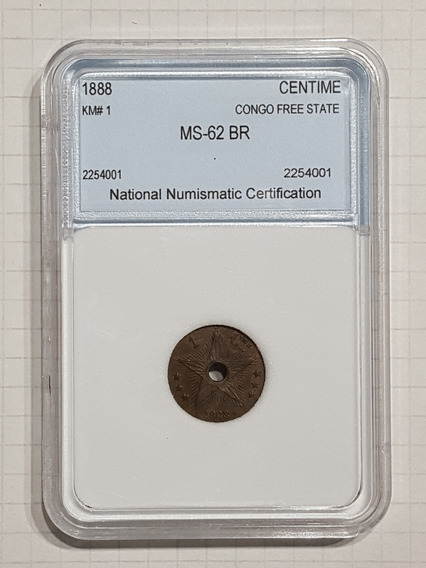 Congo Estado Libre 1 Centavo 1888 Encapsulada Certificada