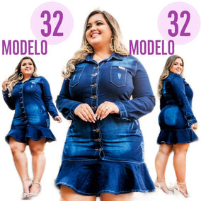 Roupa Feminina Vestido Jean Plus Size Evangelica Mld. 32