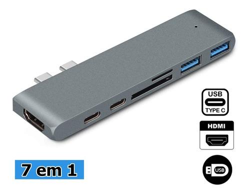 Imagem 1 de 7 de Adaptador Hdmi 4k Hub Usb-c 3.1 Para Macbook Pro Air M1 2021