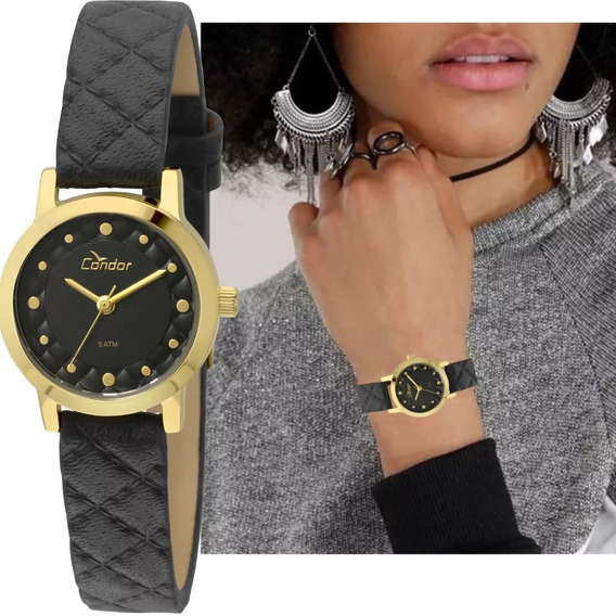 Relógio Feminino Condor Dourado Couro Preto Co2036koj/2p