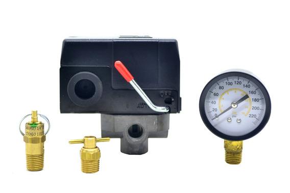 Kit Pressostato Comp. + Manômetro + Val. Segurança + Purgado