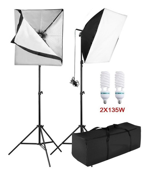 Kit Iluminação Estúdio Softbox Light 60x60 2x135w C/nfe