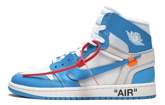 Tênis Masculino Air Jordan 1 Off White Azul Frete Grátis