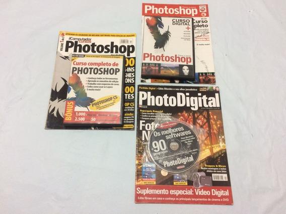 Photoshop Lote Com 8 Revistas Acompanha Junto Vídeo Cd Rom