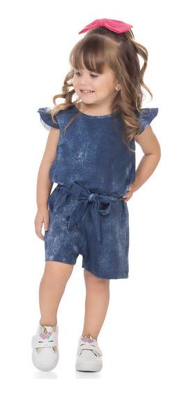 Macaquinho Infantil Menina Cotton Jeans - Roupa De Verão Bebê - Macacão Curto