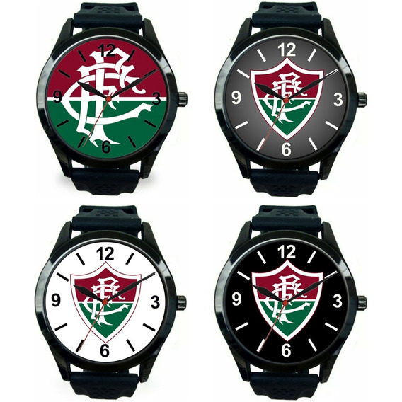 Kit 4 Relógios Pulso Esportivo Fluminense Masculino Promoção