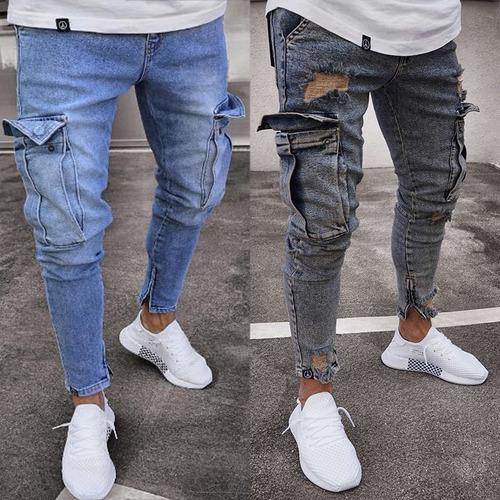 Pantalones Vaqueros Pitillo Rasgados Para Hombre Lf806 Mercado Libre