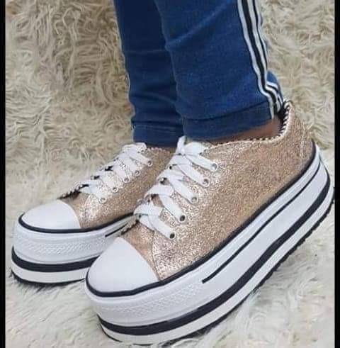 Zapatillas Doradas Brillo Glitter Plataforma All Star Alta